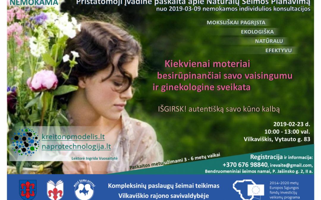 Įvadinė paskaita apie NŠP ir NaProTechnologiją VILKAVIŠKYJE